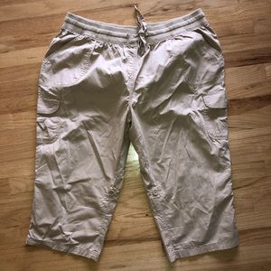 Woman Within Khaki Pockets Roll Up Capris Pants